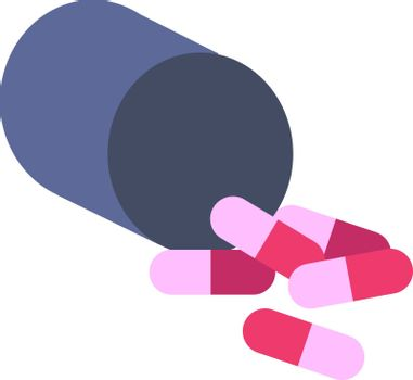 Pink pills, illustration, vector on white background.