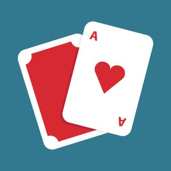 Playing cards, illustration, vector on white background.