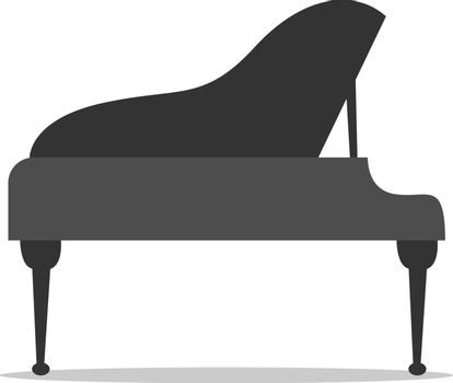 Black piano, illustration, vector on white background.