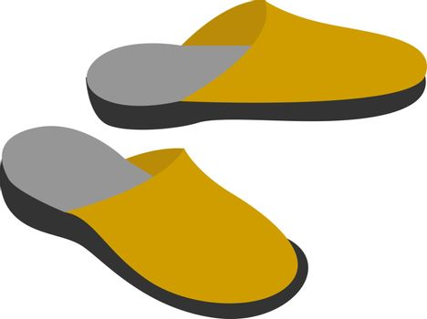 Yellow slippers, illustration, vector on white background.