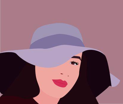 Blue hat, illustration, vector on white background.