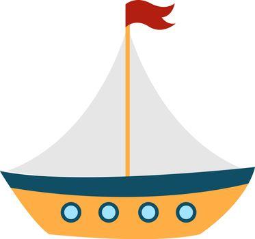 Wooden boat, illustration, vector on white background.