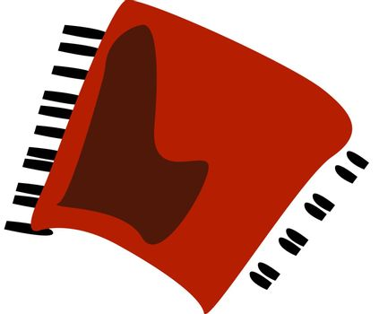Red accordion, illustration, vector on white background.