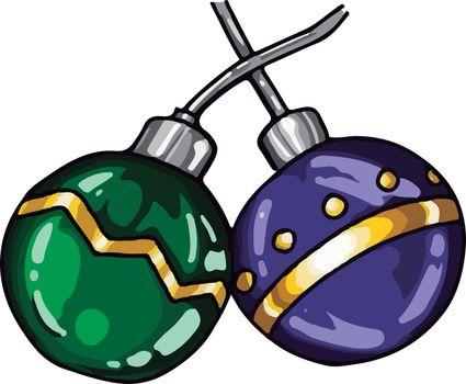 Two decorative balls, illustration, vector on white background.