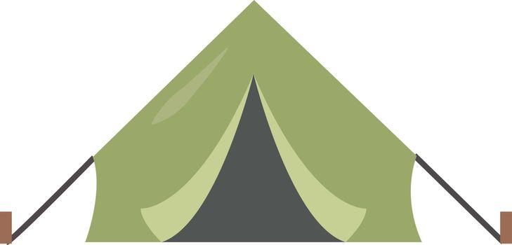 Green tent, illustration, vector on white background.
