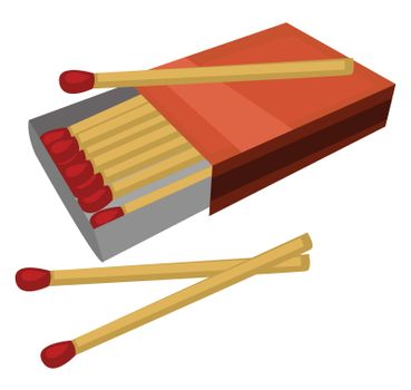 Pack of matches , illustration, vector on white background
