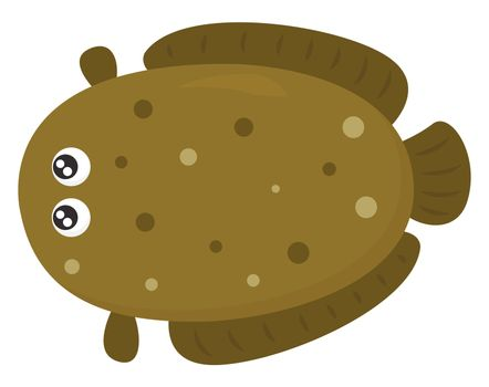 Big brown fish , illustration, vector on white background