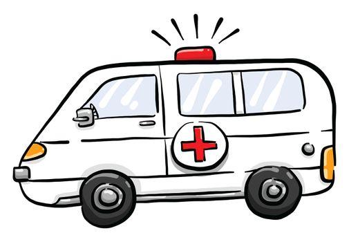 Ambulance car , illustration, vector on white background