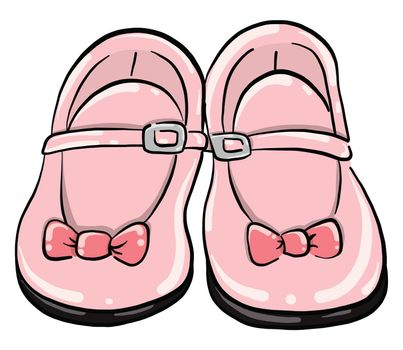 Baby pink shoes , illustration, vector on white background
