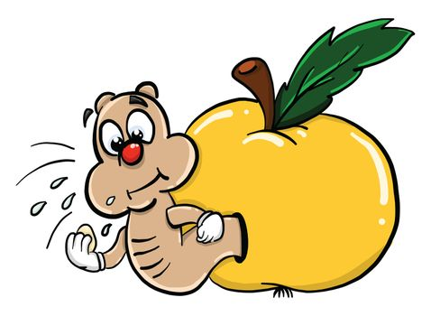Apple with worm , illustration, vector on white background