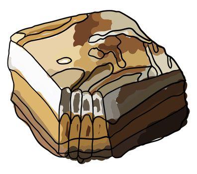 Sweet potato pie, illustration, vector on white background