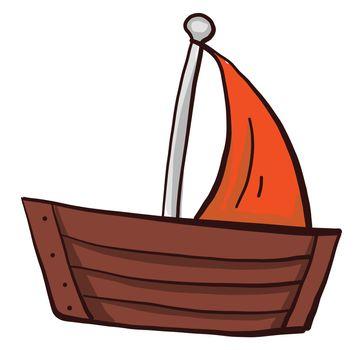 Boat with orange sail , illustration, vector on white background