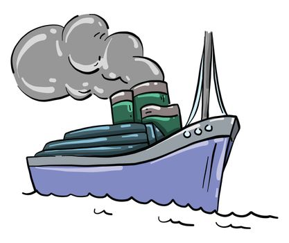 Big blue ship , illustration, vector on white background