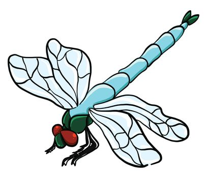 Blue dragonfly , illustration, vector on white background