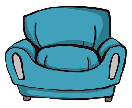 Blue couch , illustration, vector on white background