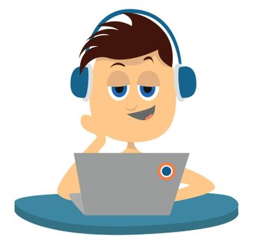 Boy with lap top , illustration, vector on white background