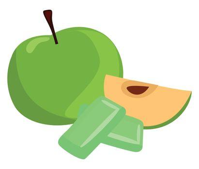 Green apple gum , illustration, vector on white background