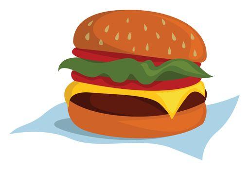 Big burger , illustration, vector on white background