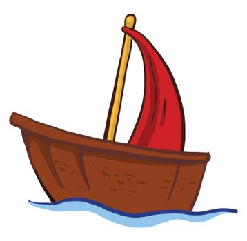 Small wooden boat , illustration, vector on white background