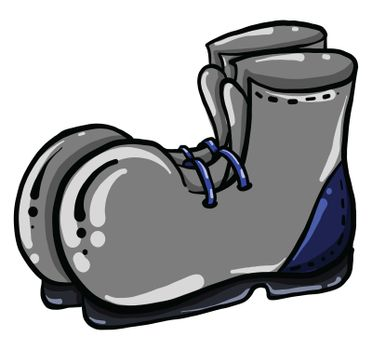 Grey boots , illustration, vector on white background