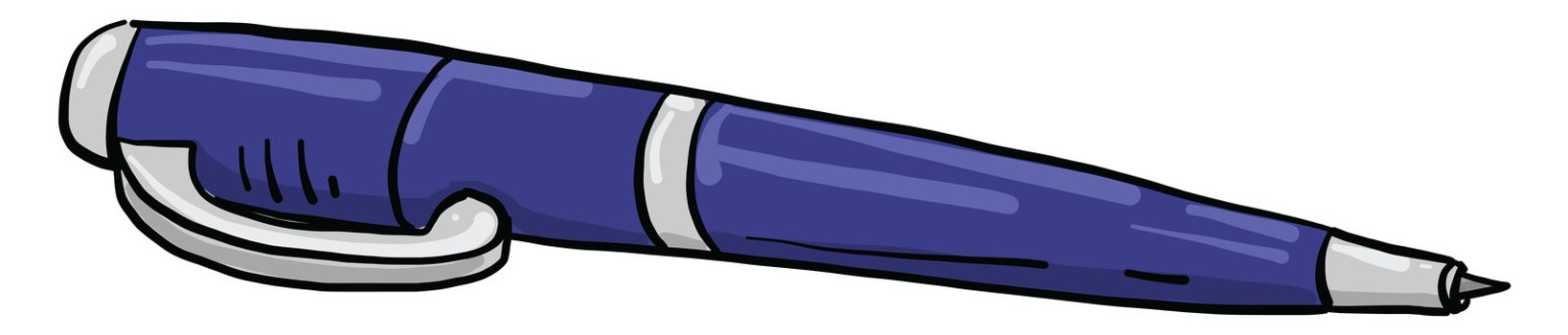 Blue pen , illustration, vector on white background