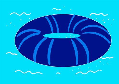 Blue swimming ring , illustration, vector on white background