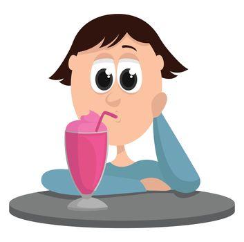 Girl drinking drink , illustration, vector on white background