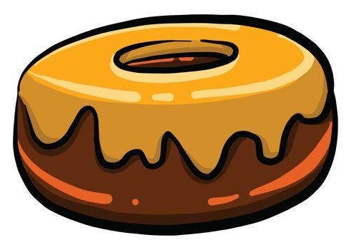 Chocolate donut , illustration, vector on white background