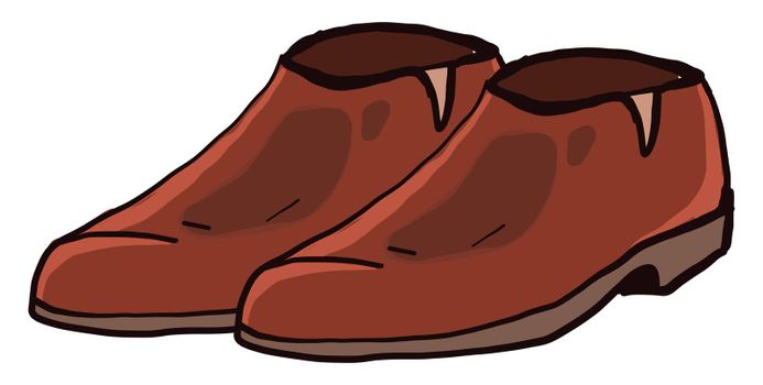 Brown man shoes , illustration, vector on white background