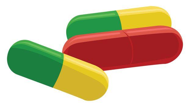 Medical capsule , illustration, vector on white background