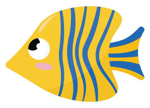 Butterfly fish , illustration, vector on white background