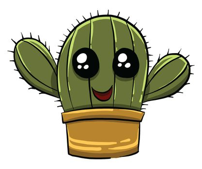 Cute happy cactus , illustration, vector on white background