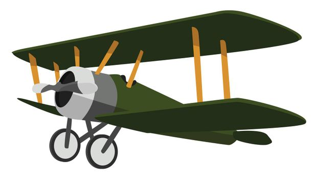 Green airplane , illustration, vector on white background