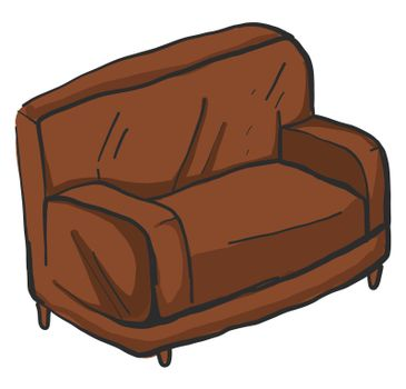 Brown couch , illustration, vector on white background