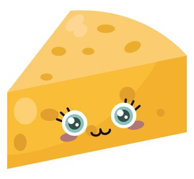 Triangle cheese , illustration, vector on white background