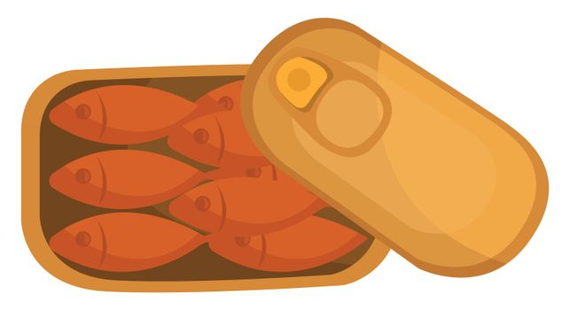 Canned fish food , illustration, vector on white background