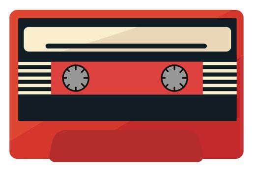 Cassette tape , illustration, vector on white background