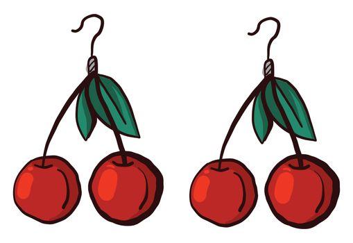 Red cherries earrings , illustration, vector on white background
