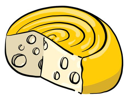 Hard cheese , illustration, vector on white background