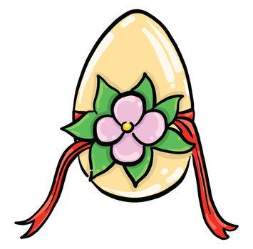 Easter egg with flower , illustration, vector on white background