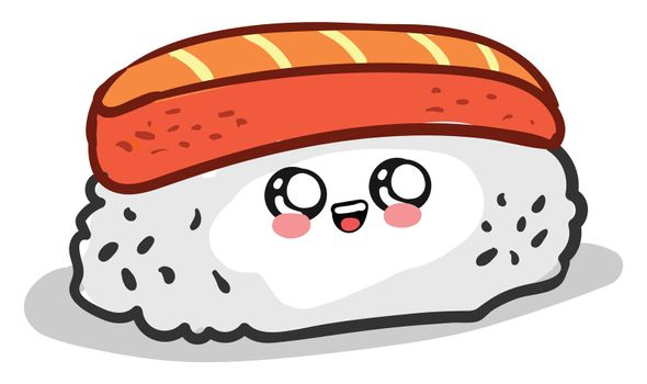 Cuti sushi roll , illustration, vector on white background