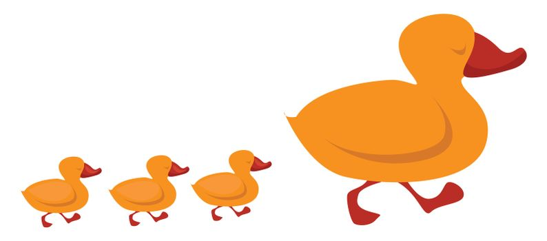 Duck family , illustration, vector on white background
