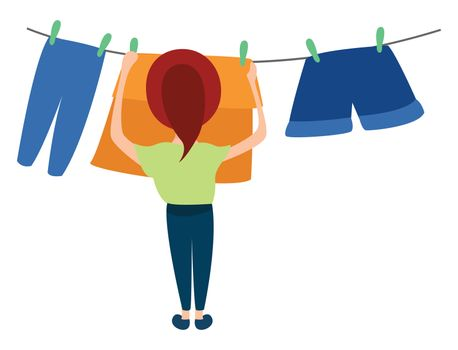 Woman drying clothes , illustration, vector on white background