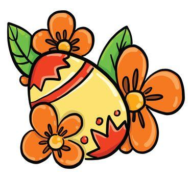Yellow easter egg , illustration, vector on white background