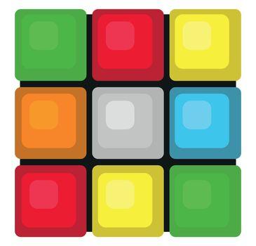 Rubik's cube , illustration, vector on white background