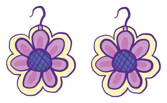 Floral earrings , illustration, vector on white background