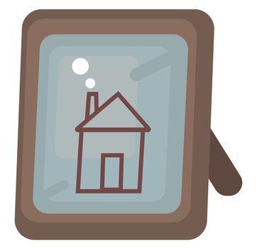 House in frame , illustration, vector on white background