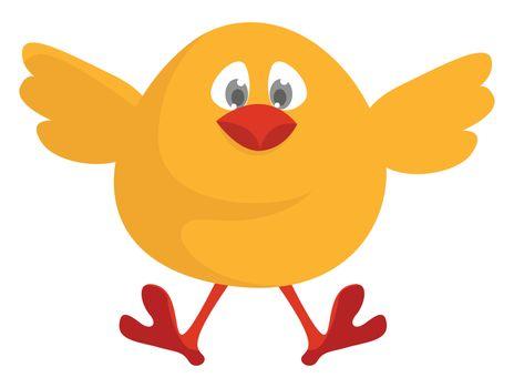 Flying chick , illustration, vector on white background