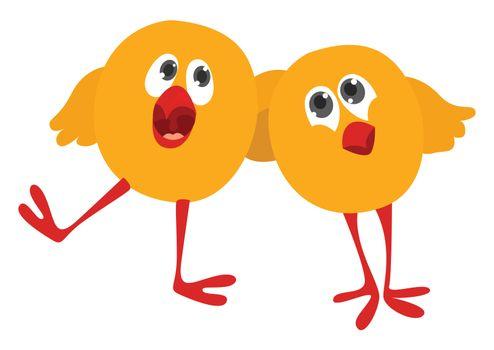 Chicken friends , illustration, vector on white background