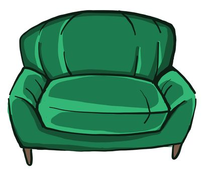 Green armchair , illustration, vector on white background